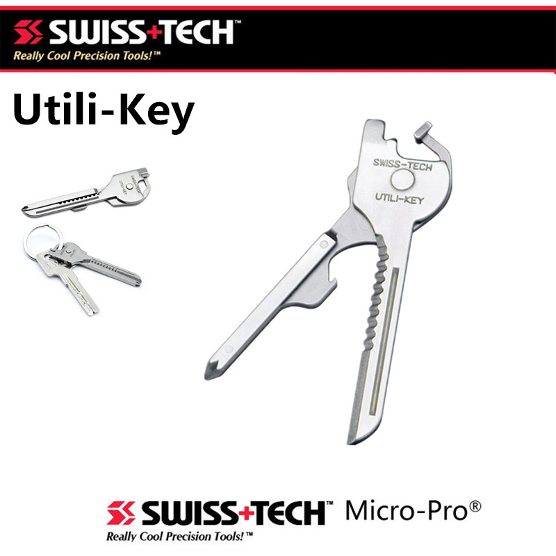 SWISS TECH Baru EDC 6 in 1 Stainless Steel Utili-Gantungan kunci Rantai Pocket Cutter Obeng Multi Alat Berkemah Survival Kit