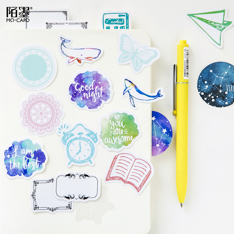 45pcs/lot Vintage Deep Sea Mini Paper Sticker Set Decoration Diy Ablum Diary Scrapbooking Stationery Stickers School Supply 45pcs box cute animal crystal ball mini paper decoration stickers diy diary scrapbooking seal sticker stationery school supplies