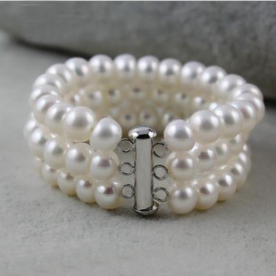 3 Rows Genuine Pearls Bracelets Multi Strand Bracelet Top Quality Women Pearl Jewelry Wedding