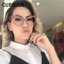 Cubojue Vintage Cat Eye Woman's Glasses Retro Cateye Frame for Female Grade Points Small Nerd Fashion Women Eyeglass Decoration