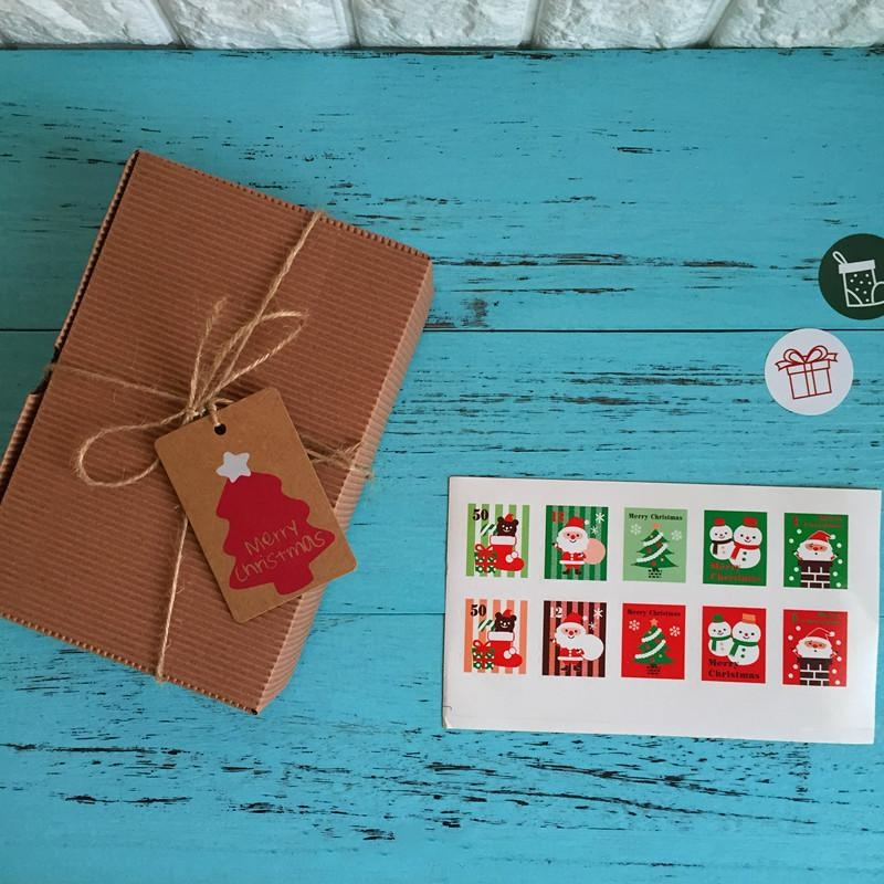 100Pcs/Lot New Christmas Stamp Packaging Sealing Label Kraft Sticker Baking Cookie DIY Work Gift Box Paper Stickers