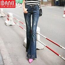 Весна отверстие расклешенных джинсов женщины пункт вышитые женские клеш джинсы брюки плюс размер