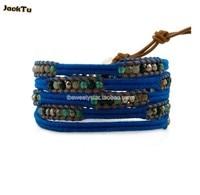 Juwelen spectrolite kralen blauw draad lederen wrap armband