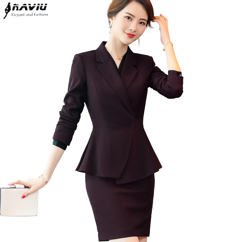 NAVIU new fashion design women skirt suits long sleeve blazer and skirt two pieces set office