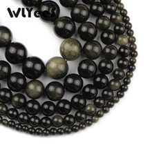 WLYeeS Natural stone Gold obsidian 4-12mm round loose bead Pick Size for Jewelry bracelet necklac making DIY Factory price