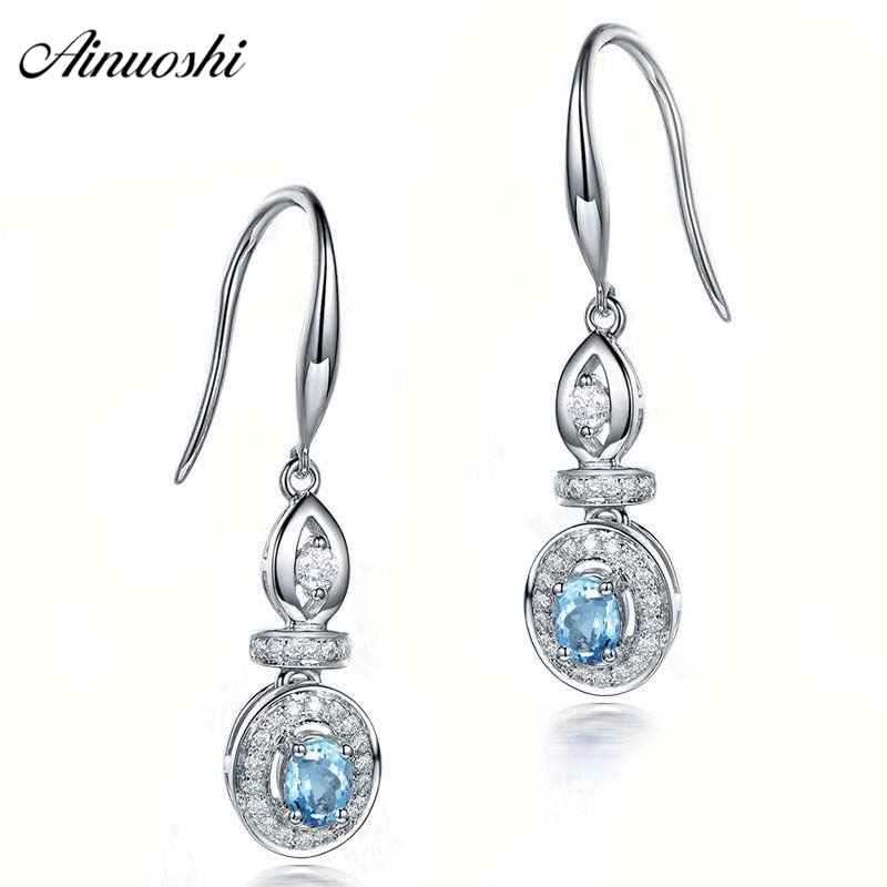 AINUOSHI 1 Carat Shinning Hook Earring Genuine 925 Silver Oval Cut Natural Sky Blue Topaz Hook Earrings Trendy Jewelry Gift