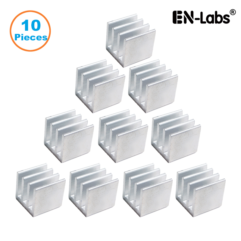 En-Labs 10pcs Silver 10x10x10mm Aluminum Heat Sink Radiator Heatsink,Electronic Chip Cooling Radiator Cooler For IC MOSFET SCR