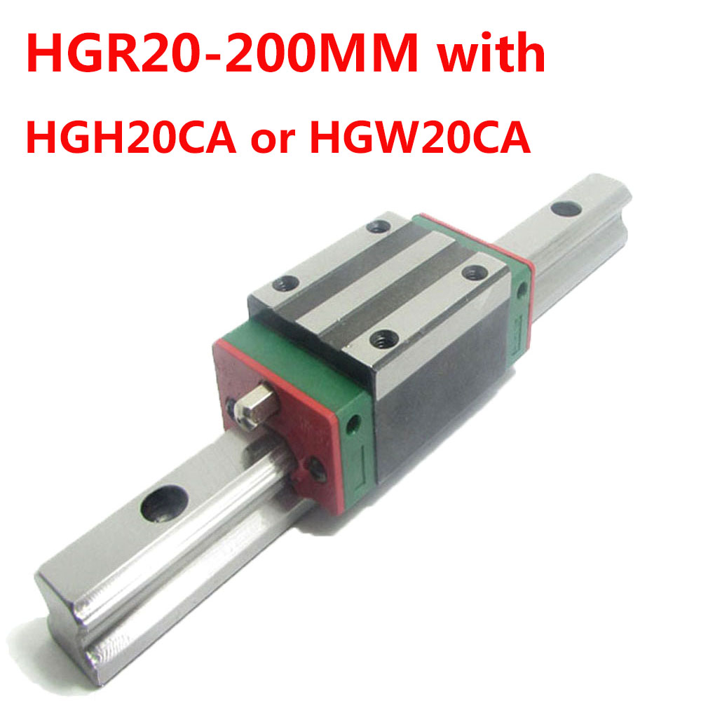 1PC HGR20 Linear Guide Width 20MM Length 200MM with 1PC HGH20CA or HGW20CA Slider for cnc xyz axis large format printer spare parts wit color mutoh lecai locor xenons block slider qeh20ca linear guide slider 1pc