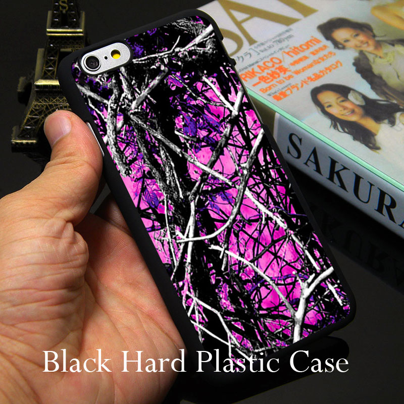 camo trees purple pink fashion Hard Black Phone Case for iPhone 7 6 6S Plus 4 4S 5C 5 SE 5S Cover