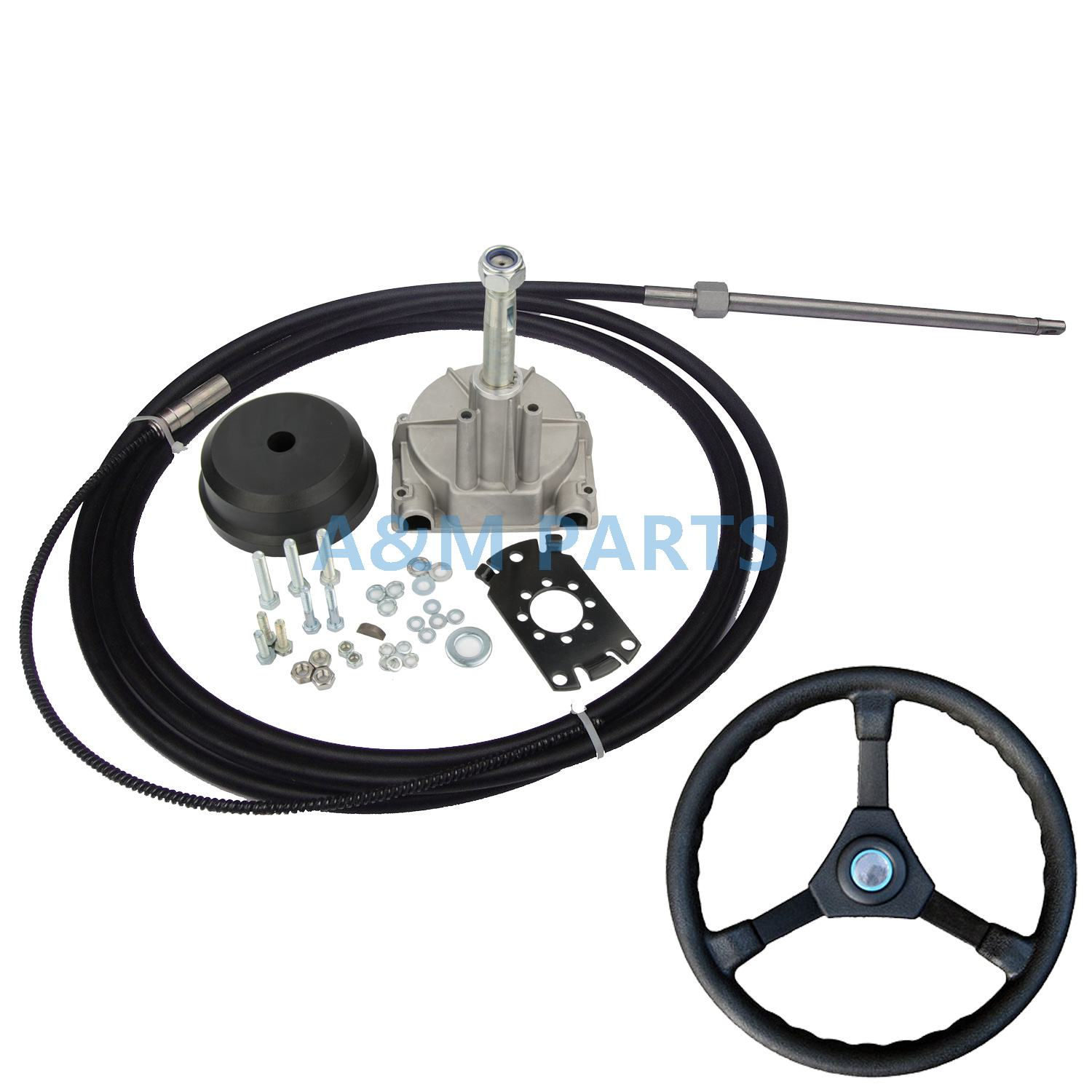 17FT Boat Single Turbine Rotary Steering Helm W/ Outboard Steering Cable Wheel