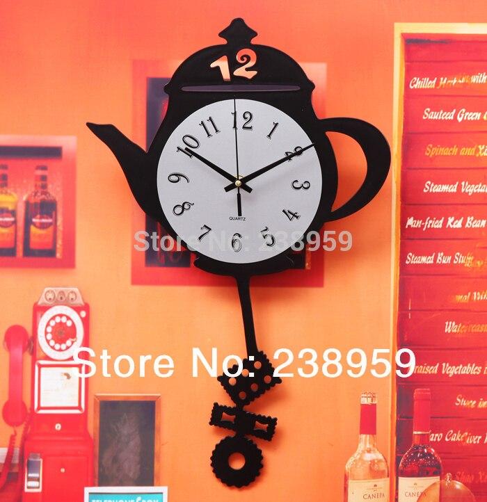 Free Shipping Teapot Wall Clock Bar Restaurant Kitchen Wall Decor