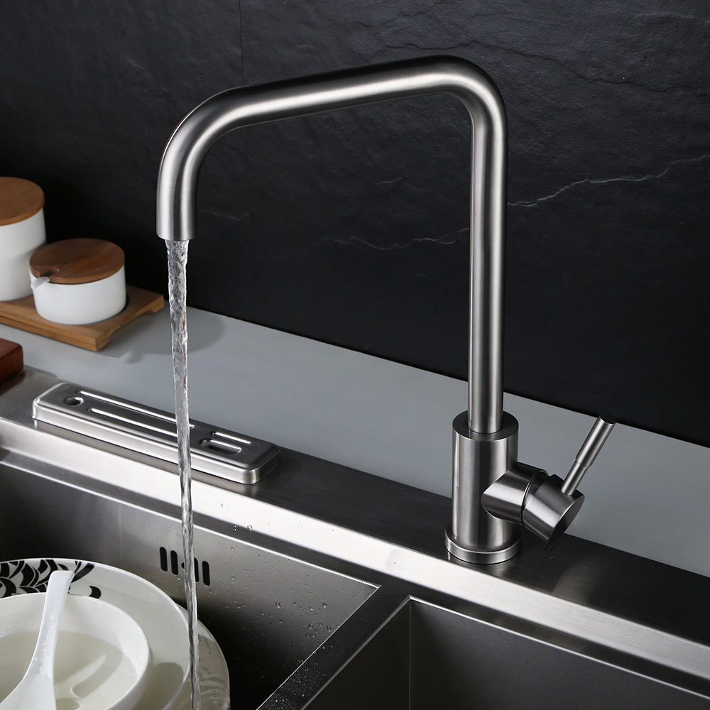 Brushed paints SUS 304 stainless steel Spool Tap Water Faucet Kitchen Faucet Hot And Cold Double Control  Faucets Mixer Brushed paints SUS 304 stainless steel Spool Tap Water Faucet Kitchen Faucet Hot And Cold Double Control  Faucets Mixer