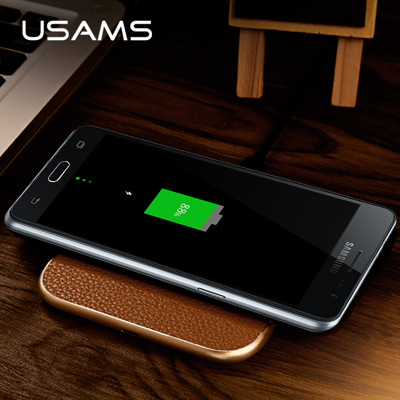 USAMS Qi wireless charger PU leather original wireless charging pad for Samsung S7 S7 edge