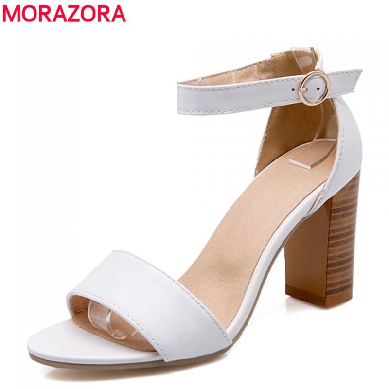 Morazora 2018 nueva llegada mujeres zapatos verano sandalias tacones altos  blanco negro señora vestido zapatos tamaño 34-43 91266ba36436