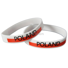 300pcs white Flag World Cup Poland wristband silicone bracelets free shipping by DHL express(China)