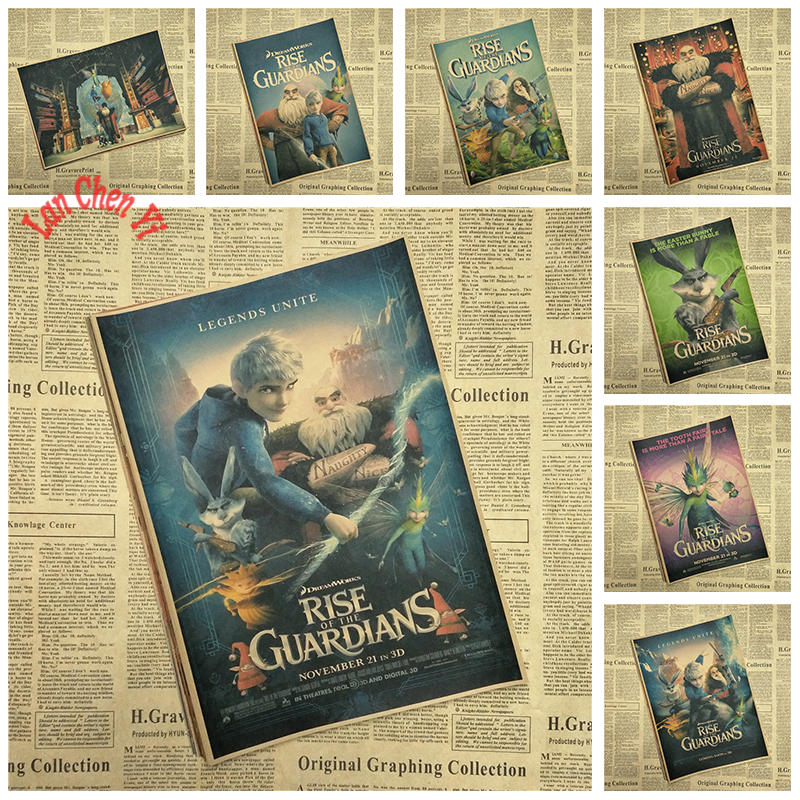 Rise of the Guardians Classic Cartoon Movie Kraft Paper Poster Painting art Art Children bedroom Decorative Painting
