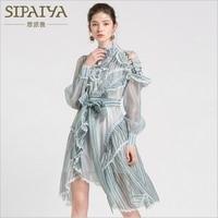 SIPAIYA New European Designer Runway Dress Women Spring Elegant Vintage Stand Collar Off Shoulder Ruffles Striped Chiffon Dress