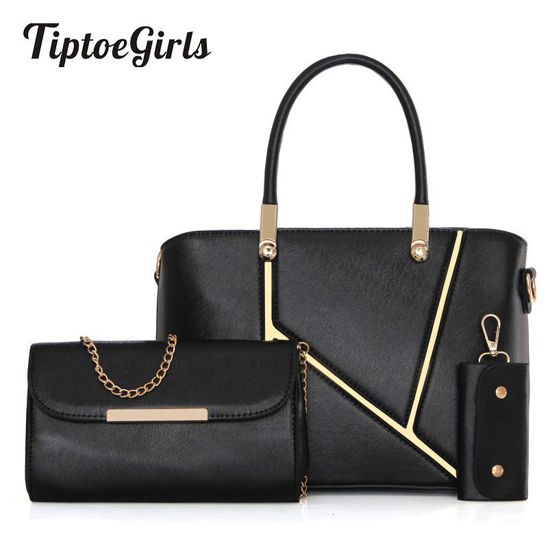 Fashion Stitching Hit Color Female Bag New Mother-Child Package Three-Piece Package Simple Shoulder Messenger Bag