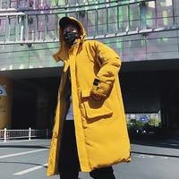 Men High Street Fashion Long Casual Parkas Jacket Overcoat Male Winter Warm Thicken Loose Cotton Padded Hooded Coat Windbreaker