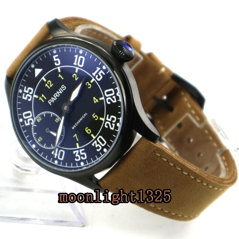 44mm parnis black dial PVD case 3600 hand winding 6497 mechanical mens watch цена и фото