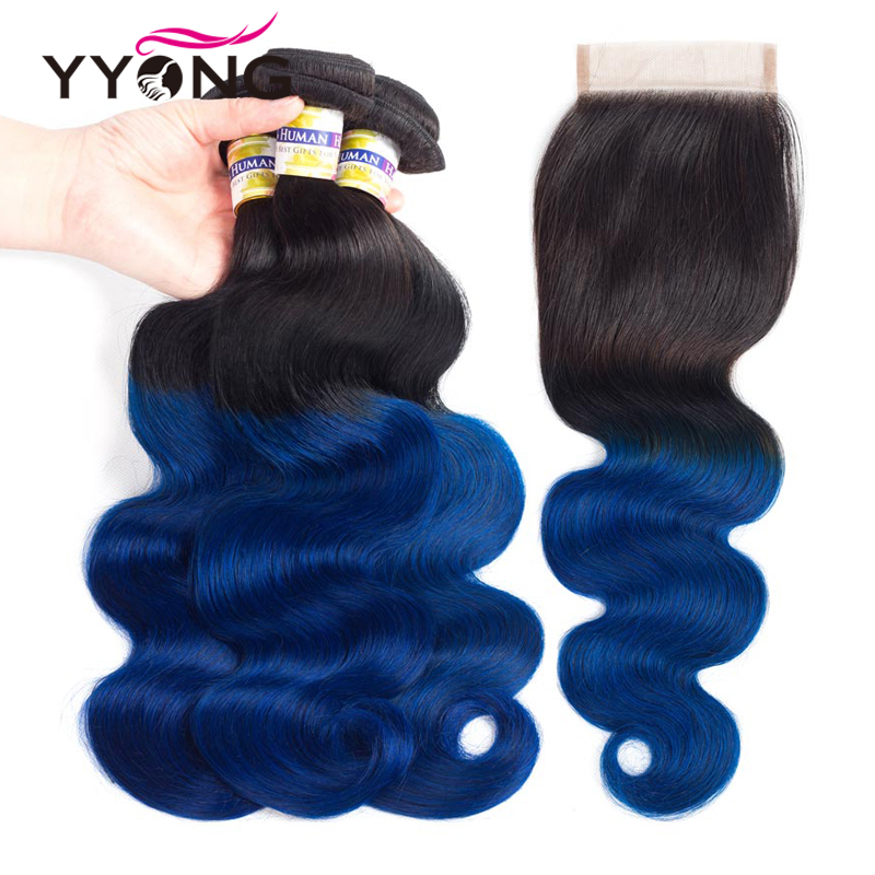 Yyong Professional 1B/Blue Hair 3 Bundles With Closure Brazilian Body Wave 100% Human Hair Ombre Bundles With Closure 4*4 ...