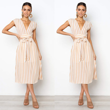 Women Striped Vintage Dress Sexy Deep V Neck  Summer