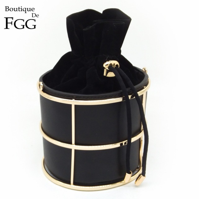 European and American Brand Women's Fashion Bucket Black PU Metal Frame String Evening Party Handbags Clutch Bag 100cm O Chain