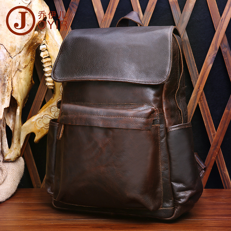 100% Guarantee Real Genuine Leather Men Backpack Vintage Cow Leather Men's Travel Bags High Grade Big Capacity Retro Men Bag 2017 genuine leather vintage travel backpack cow leather brush color women bags cow leather backpack top handle bags