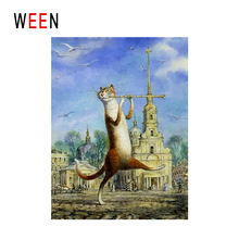 WEEN Fluting Cat Diy Painting By Numbers Animal Oil On Canvas Castle Cuadros Decoracion Acrylic Wall Art Home Decor New
