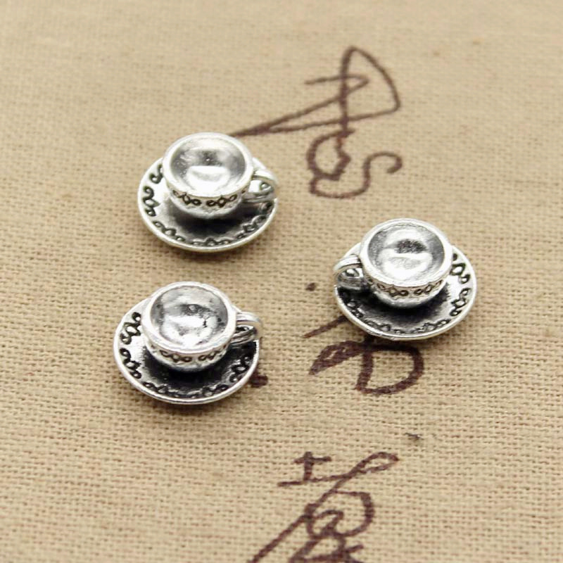 12pcs Charms A Cup Of Coffee Tea 14x14x7mm Antique Silver Plated Pendants Making DIY Handmade Tibetan Silver Jewelry