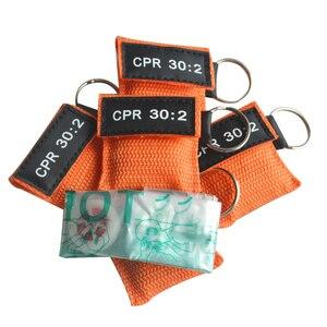Image 4 - 100 шт. CPR маска для реанимации односторонний клапан жизненный ключ тренировочная карманная маска для защиты лица инструмент для ухода за здоровьем оранжевый