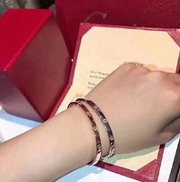 Real 100% 925 Sterling Silver Love Shape Bracelet CZ 18cm Bangles Rose Gold/Silver Colors Famous Brand Jewelry Good Quality