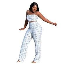 2019 Women Spaghetti Strap Two Piece Set Slash Neck Crop Top And Wide Leg Pants Sportswear Plaid Outfits Casual White Suit недорого