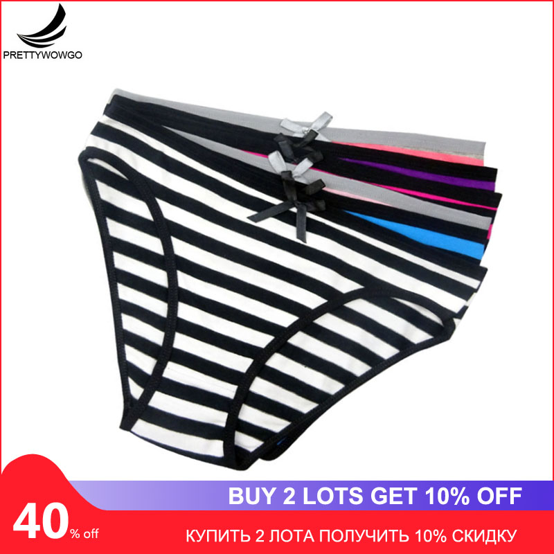 Prettywowgo 6 pcs/lot Women's   Panties   Cotton Women Striped Cotton Briefs Underwear 6861