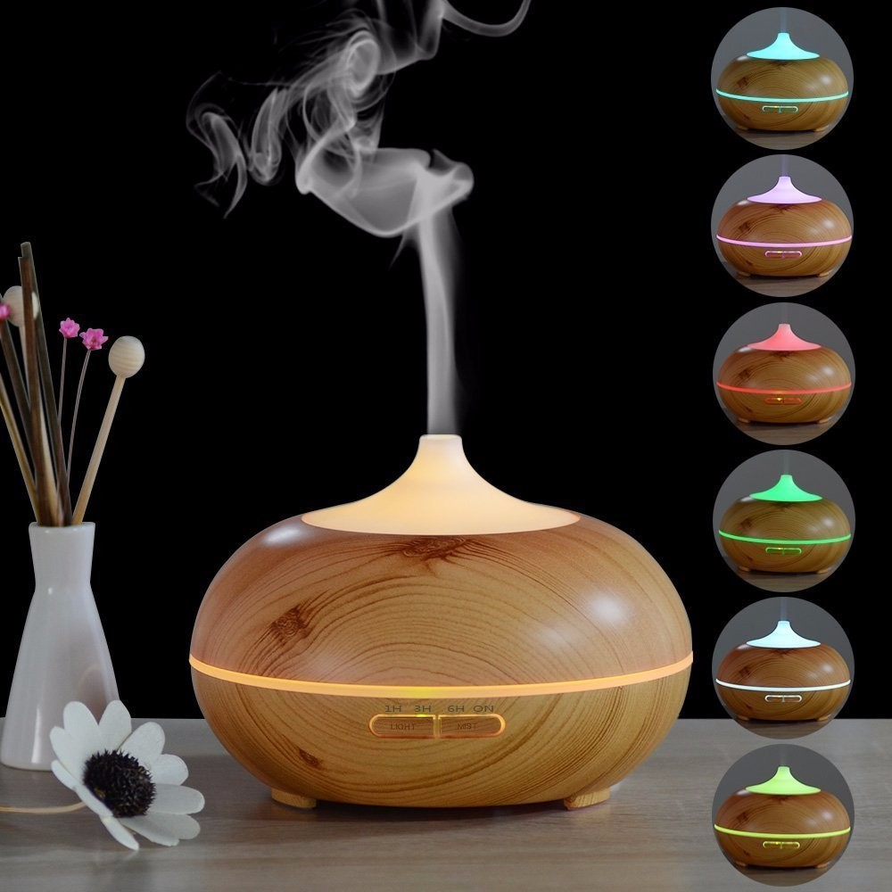 7 Color Changing LED Light Aroma Diffuser 300ML Wood Grain Aromatherapy Essential Oil Diffuser Ultrasonic Air Humidifier цена