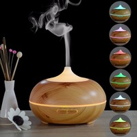 7 Color Changing LED Light Aroma Diffuser 300ML Wood Grain Aromatherapy Essential Oil Diffuser Ultrasonic Air