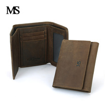 2018 New High Quality Genuine Leather Men Wallets Vintage Cowskin Purse Famous Brand Men's Three Folds Wallet For Man TW1632