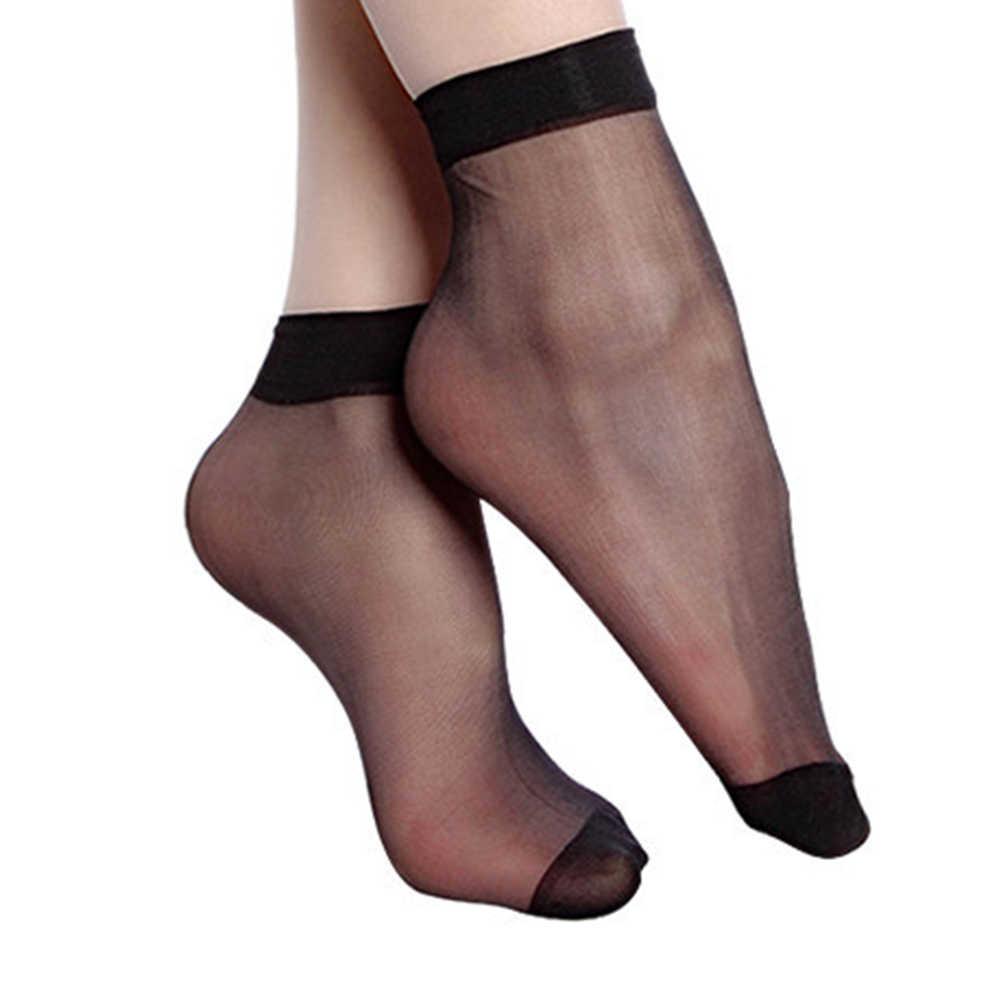 女性光沢のあるショートソックス透明弾性靴下 2 色の女性の靴下ファッションクリスタルシルクレースアンクルソックス