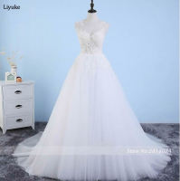 Satin Bateau Neckline See Through Wedding Dresses With Beaded Lace Appliques Vestidos De Novia