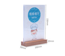 New Wood Photo Frame A6 Magnetic Acrylic Cover Desk Sign Holder Table Menu Card Holder Price Tag Display Office Signboard Stand(China)