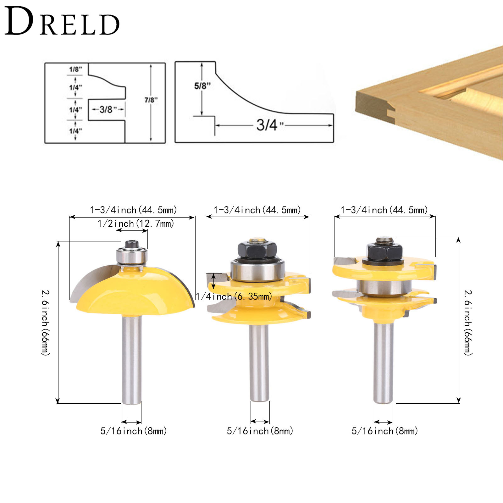 DRELD 3pcs 8mm Shank Engraving Milling Cutter Woodworking Tools Raised Panel Cabinet Door Router Bit Set Wood Cutter Door Knife 3 8mm woodworking tools round carving bit router bit milling cutter for engraving woodcarving