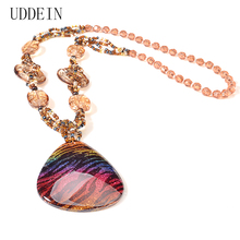 UDDEIN Long Necklace Pendant Resin Gem Bib Beads Handmade Bohemian Statement Necklace Women Bridal Wedding Accessories Jewelry