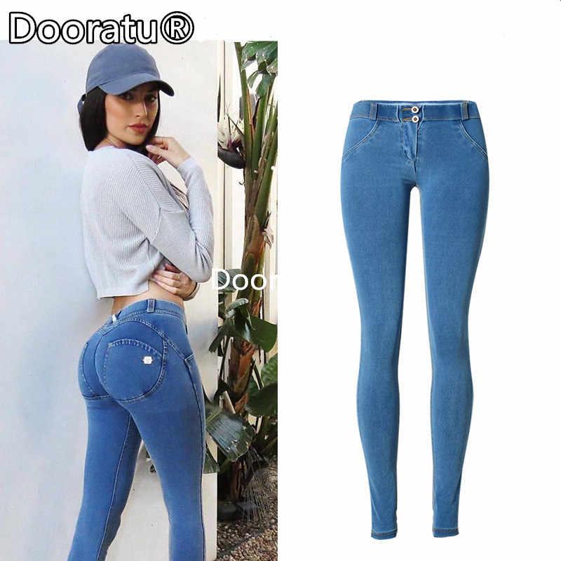 d08cbeb488c Dooratu High Waist Jeans Woman Skinny Push Up Jeans Slim Blue Denim Pencil  Pants Stretch Female