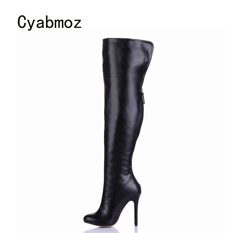 Cyabmoz Women Winter Snow Boots Shoes Woman Zapatillas Botas Zapatos Mujer Over Knee High Heels  PU Leather Ladies Party Shoes uexia women winter warm snow shoes casual flats increased shoes woman fur inside comfortable slip on botas zapatos mujer flock