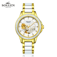 Montre Femme Women Watches top Luxury Brand Ceramic Ladies Gold Watch Hollow automatic mechanical diamond wristwatches