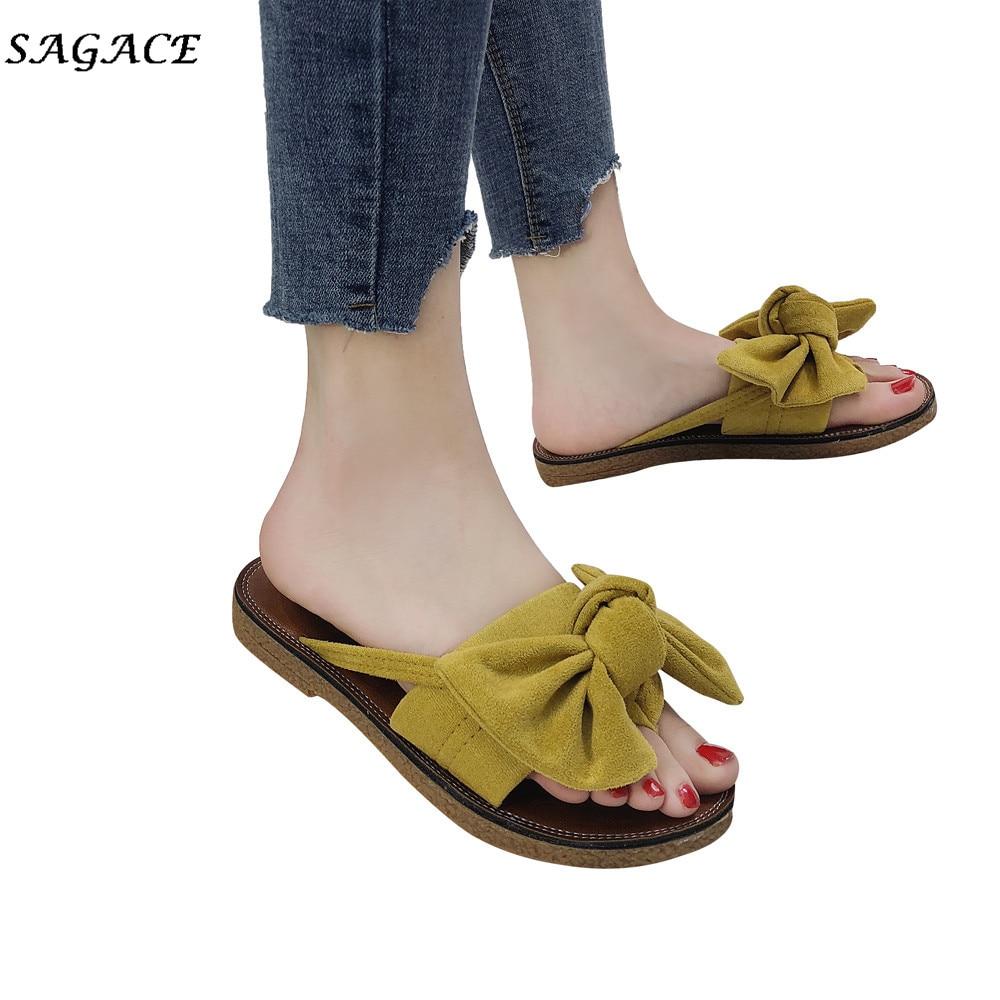 SAGACE D'été Vente Chaude Femmes Flip Flops Mode Solide Couleur arc cravate Femelle Talon Plat Sandales Taille 36-40 Pantoufle Plage chaussures