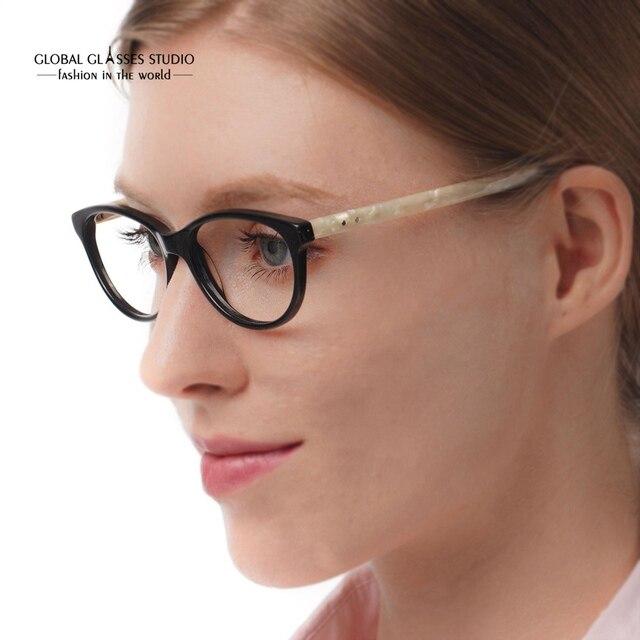 f8241dbfa0d7d Classic Design Lady s Cat-eye Acetate Optical Glasses Eyewear Spectacle  Frame Black Ivory With Spring Hinge occhiali 51BG24012