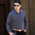 2015 nueva otoño invierno hombre impresión de moda camisa de manga larga gruesa con forro de piel