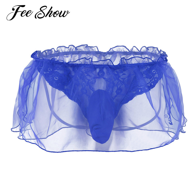 FEESHOW Mens Sexy Lingerie Lace Organza G-string Underwear with Bulge Pouch  Gay Men s Lingerie Open Butt G-strings and Thongs