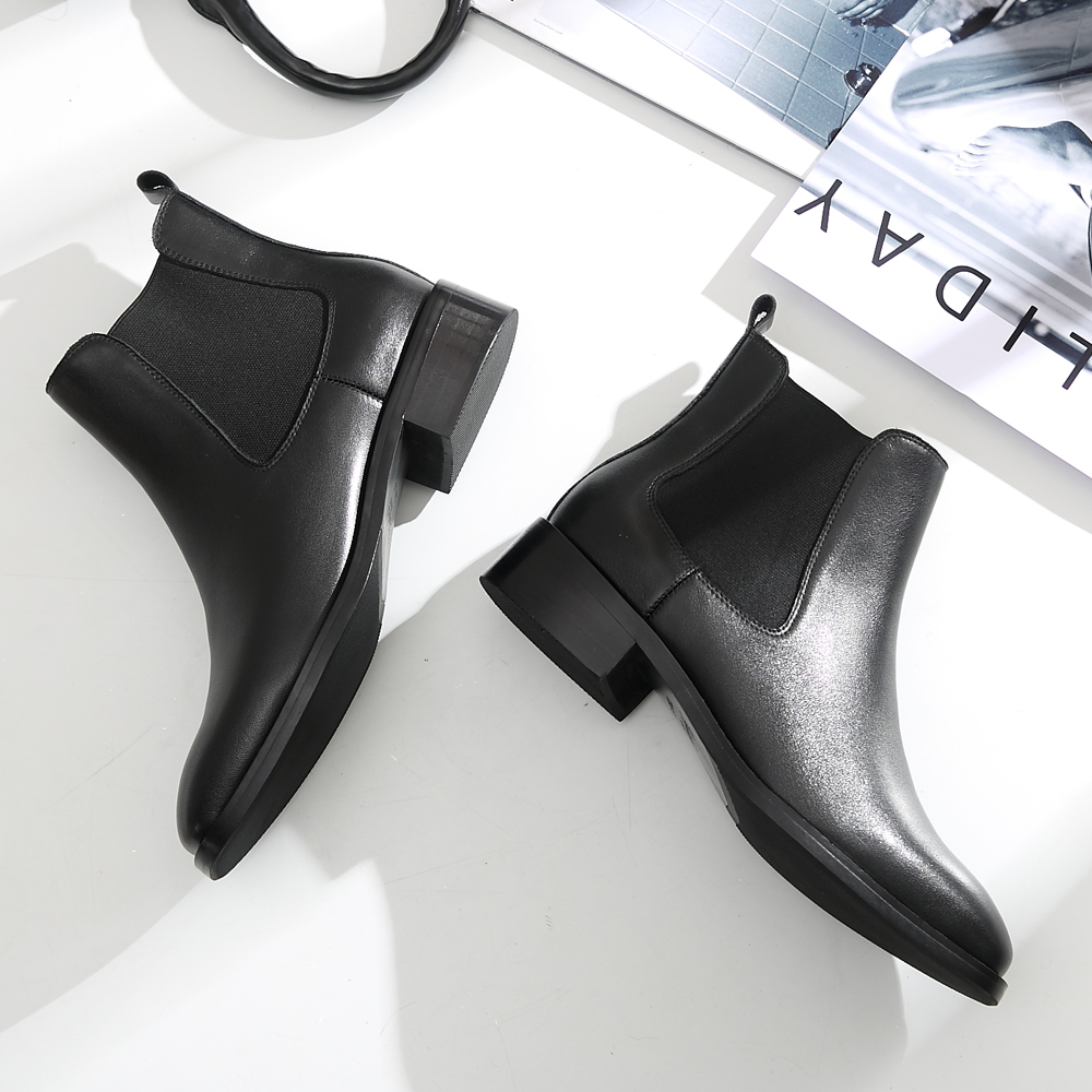 Donna-in Women Boots 2019 Genuine Leather Chelsea Boots Handmade Ankle Boots Brand Square Toe Chunky Ladies Shoes Plush Size